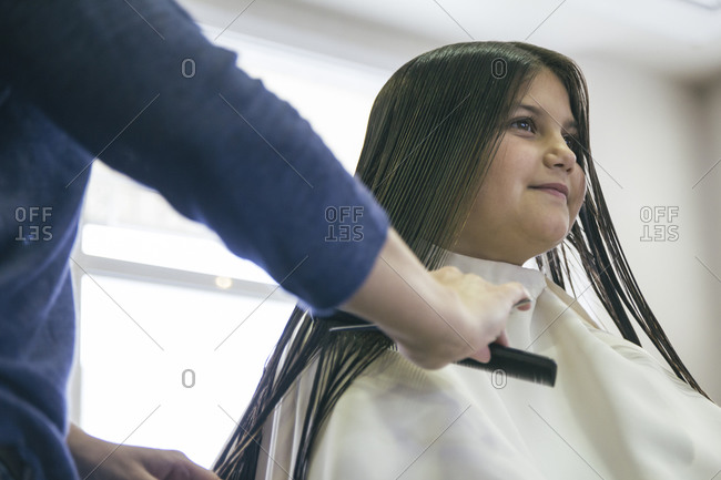 Young girl in a hair salon