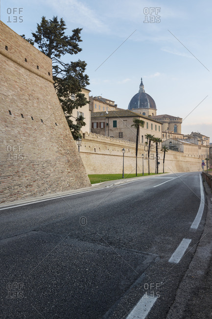 City wall and Basilica of the Holy House in Loreto, Italy