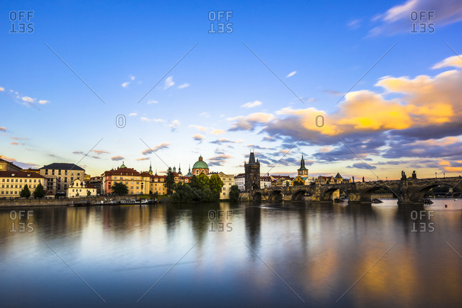Charles Bridge and Vltava River in Prague in summer