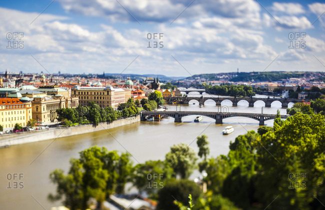 Prague, Charles Bridge and Vltava River, tilt-shift