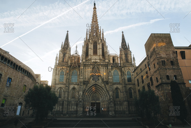 Spain, Barcelona, view to Barcelona Cathedral in the Gothic Quarter
