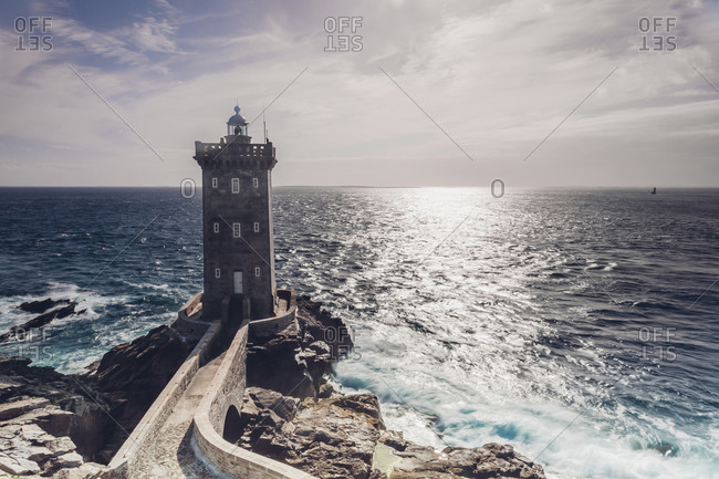 France, Brittany, Pointe de Kermorvan, Le Conquet, lighthouse Phare de Kermorvan