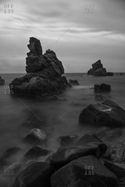 Spain, Costa Brava, Lloret de Mar, rock formations at Cala dels Frares