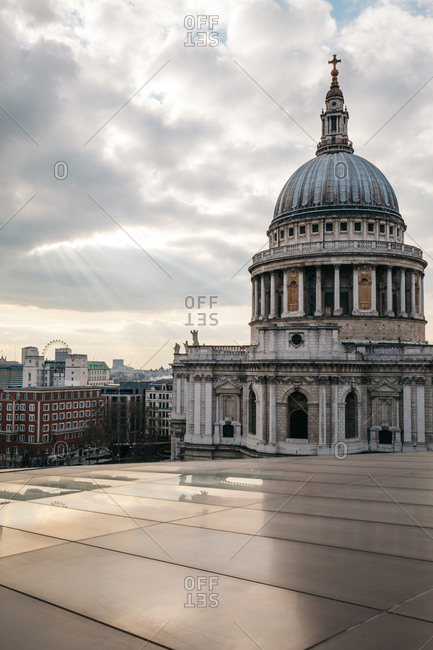 Sun rays over St Paul's Cathedral, London