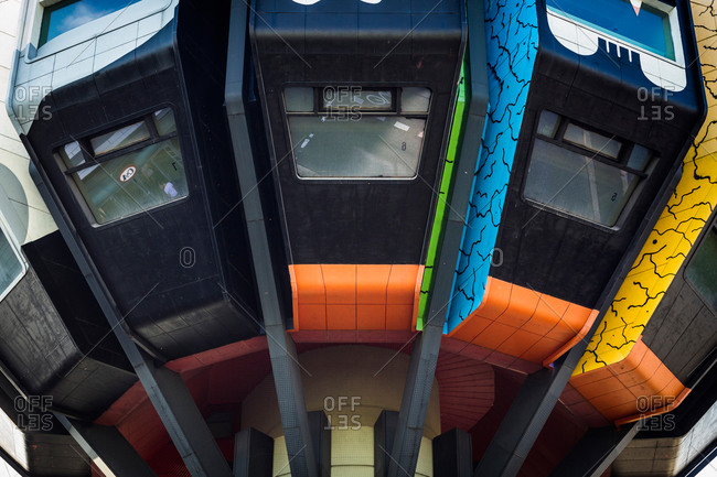 Berlin, Germany - August 1, 2015: Close up of windows of the colorful Bierpinsel in Steglitz
