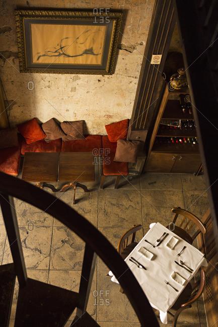 Antigua, Guatemala - January 27, 2015: High angle view of a restaurant interior
