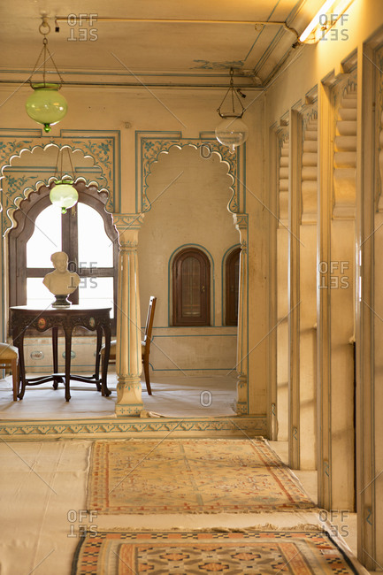 Udaipur, Rajasthan, India - January 17, 2014: Interior of the City Palace, Udaipur