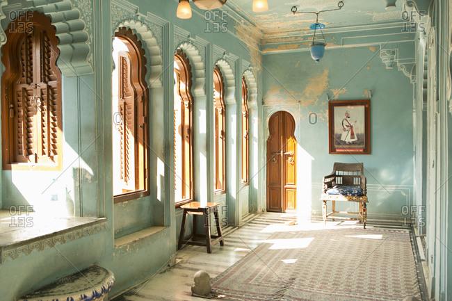 Udaipur, Rajasthan, India - January 17, 2014: Blue interior of the City Palace, Udaipur