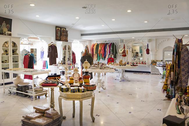 Udaipur, Rajasthan, India - January 17, 2014: Aashka Boutique at the City Palace, Udaipur