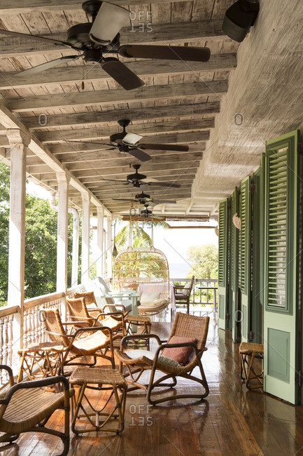 Mustique, Mustique Island, St Vincent and Grenadines - January 20, 2016: Covered porch at the Cotton House hotel