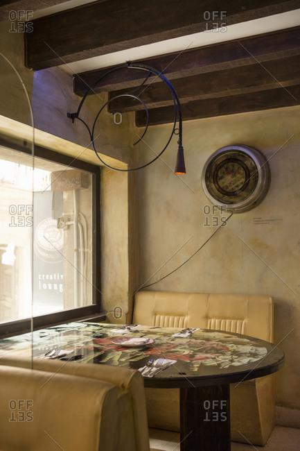 Havana, Cuba - January 24, 2016: Booth in a restaurant