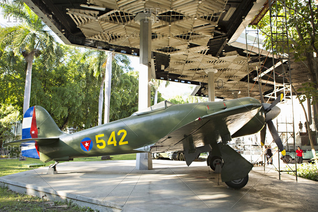 Havana, Cuba - January 25, 2016: Fighter plane at the Museum of the Revolution