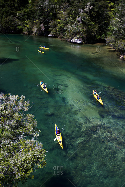 Kayakers in New Zealand river