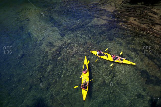 South Island, New Zealand - February 5, 2011: Kayaking on river, New Zealand