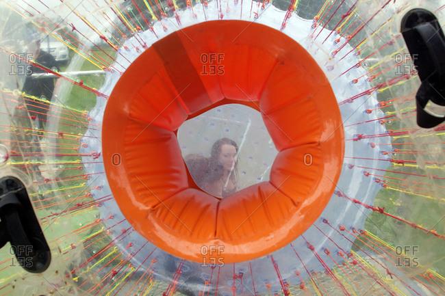 Rotorua, New Zealand - December 11, 2010: Person inside an inflatable ball