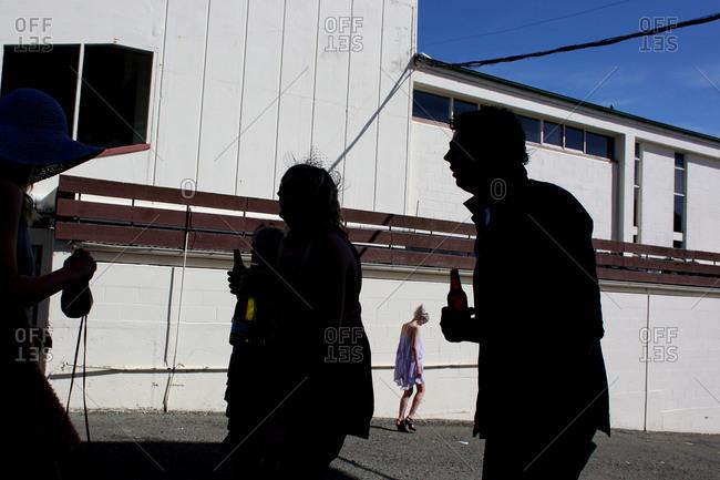 Invercargill, New Zealand - December 10, 2011: Spectators leaving horse race track