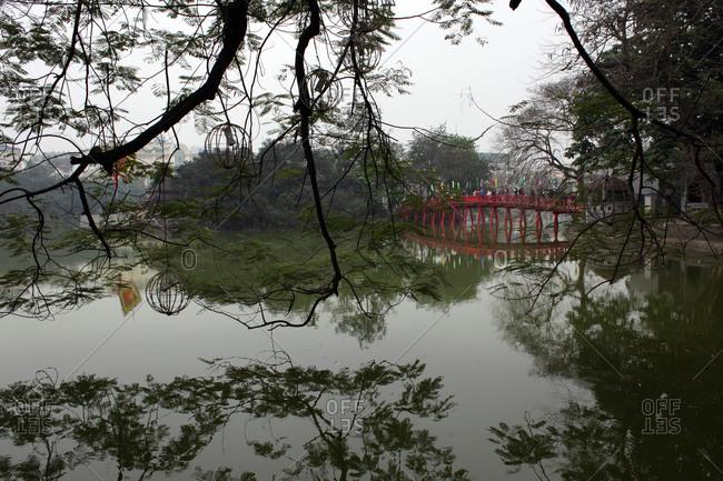 Huc Bridge in Hanoi, Vietnam
