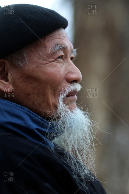 Hanoi, Vietnam - March 14, 2012: Profile of elderly Vietnamese man