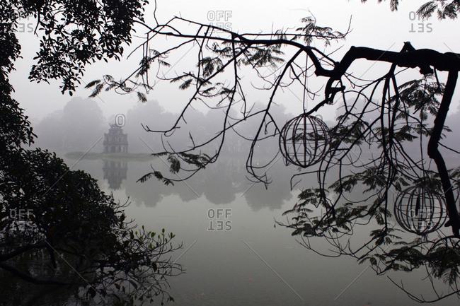 Mist over lake in Vietnam