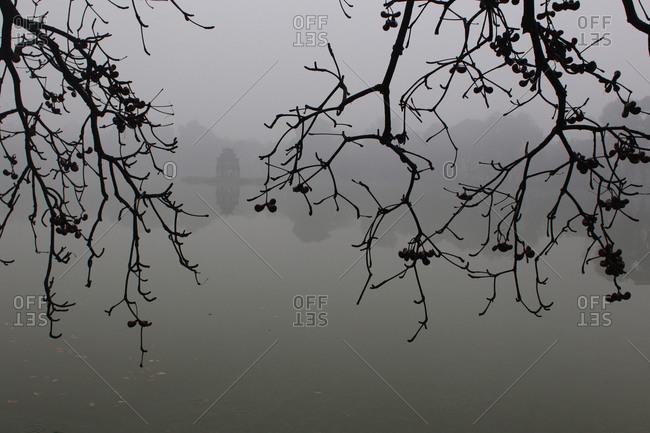 Mist over lake, Hanoi, Vietnam