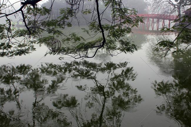 Bridge over lake in Vietnam