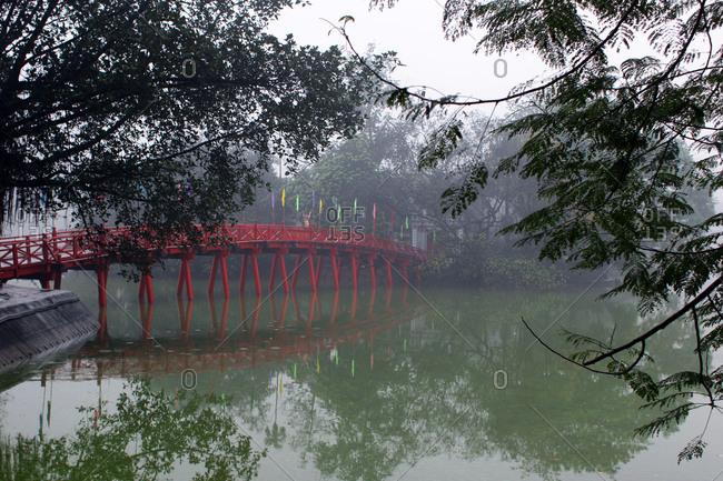 Bridge over a lake in Vietnam