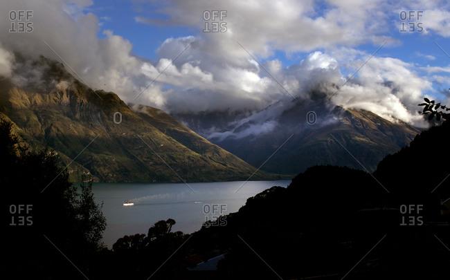 Steamship in lake, New Zealand