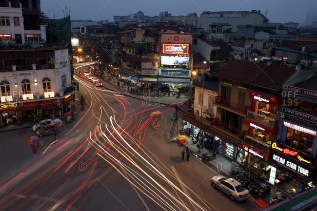 Hanoi, Vietnam - March 19, 2012: A bustling street corner, Hanoi, Vietnam