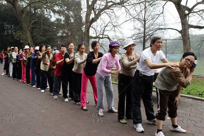 Hanoi, Vietnam - March 18, 2012: Elderly group fitness session, Hanoi, Vietnam