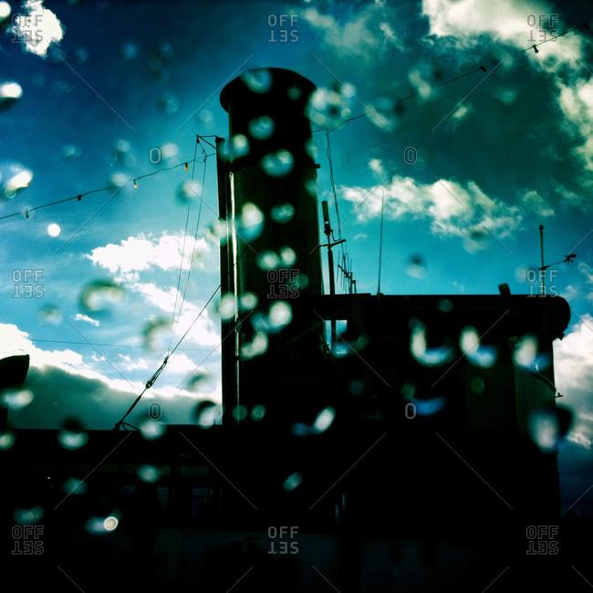 Steamship and rain drops