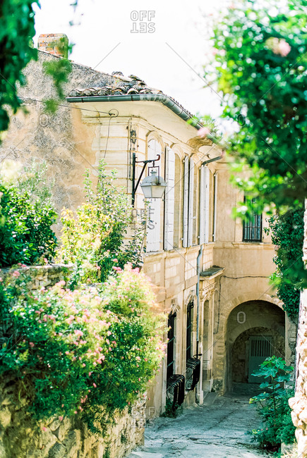 Quaint houses and street scene in Provence