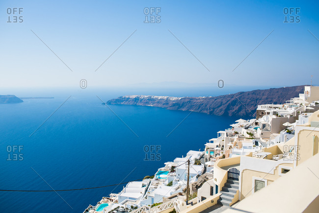 View of Caldera Santorin from hillside, Greece