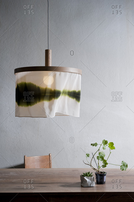 Pendant light hanging above wooden table with two plants