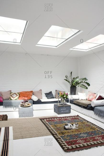 Living room loft with skylights