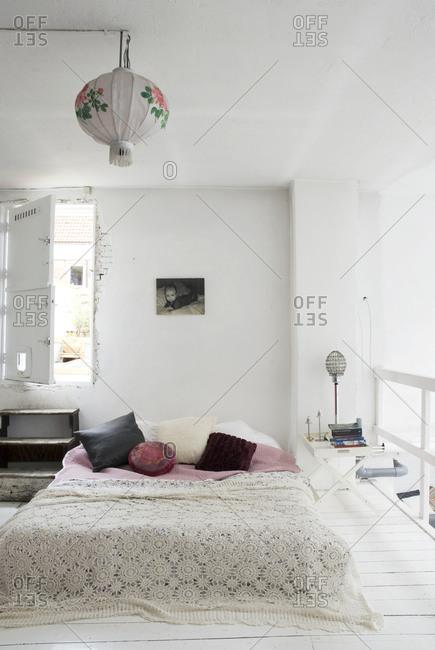 Amsterdam - July 9, 2008: Minimal white bedroom