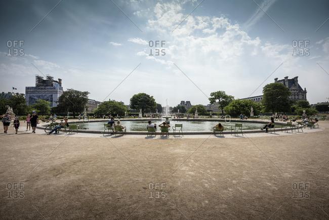 Paris, France - July 2, 2015: Scenic view of the Jardin des Tuileries, Paris