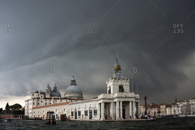 A thunderstorm looming over the Cathedral of Santa Maria della Salute, Venice