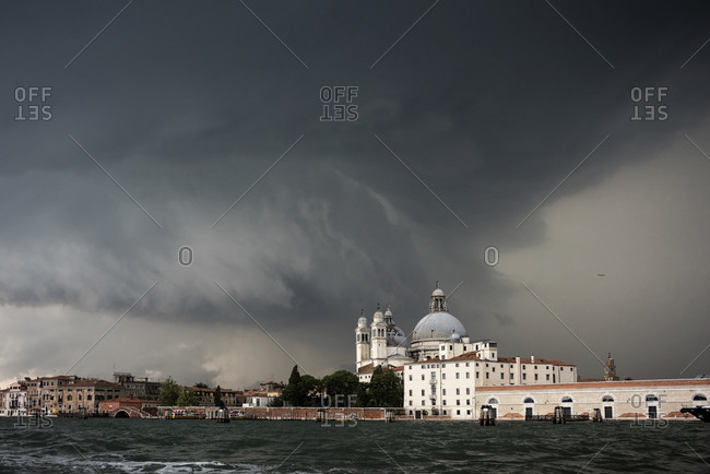 A thunderstorm looming above the Cathedral of Santa Maria della Salute, Venice