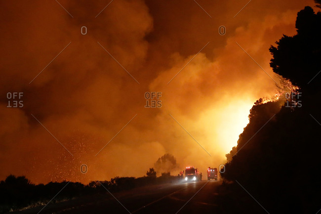 Firefighters battle a blaze in Kalk Bay near Cape Town