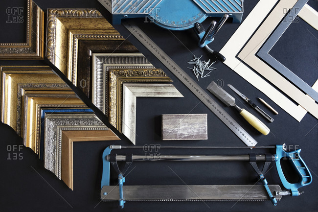 Supplies for framing pictures