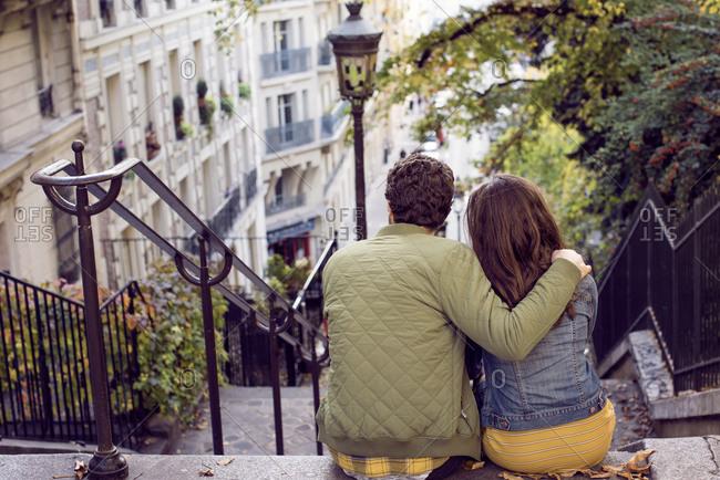 Couple on Parisian steps