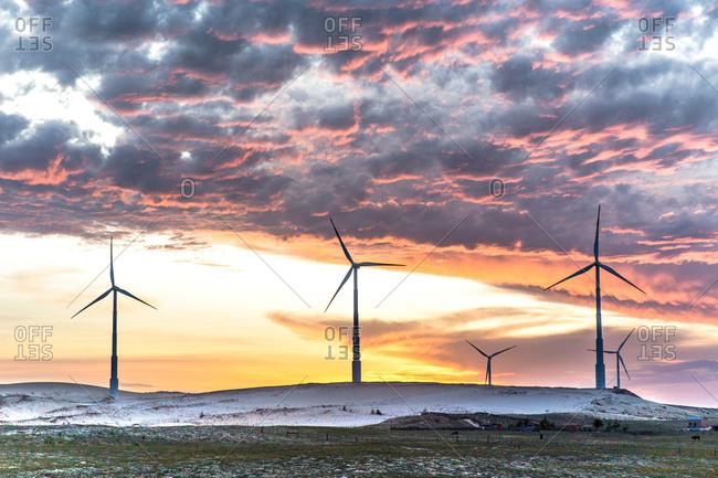 Wind turbines at dusk, Taiba, Ceara, Brazil