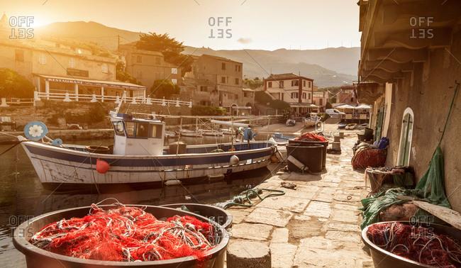 Fishing boats moored in harbor, Centuri, Corsica, France