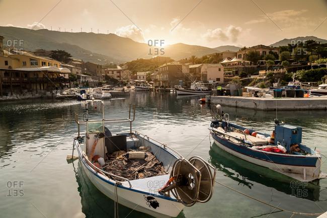 Fishing boats in traditional harbor, Centuri, Corsica, France