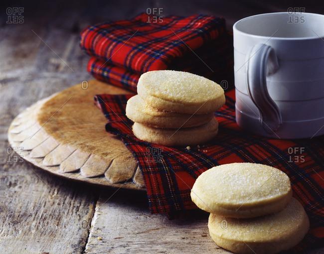 Luxury Scottish all butter shortbread cookies on tartan tea towel