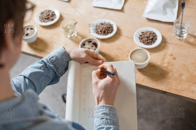 Coffee taster writing notes - Offset