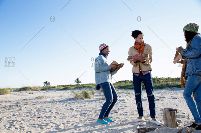 Three friends on beach, holding fire wood, preparing fire