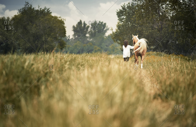 Woman walking in a field with her horse from behind