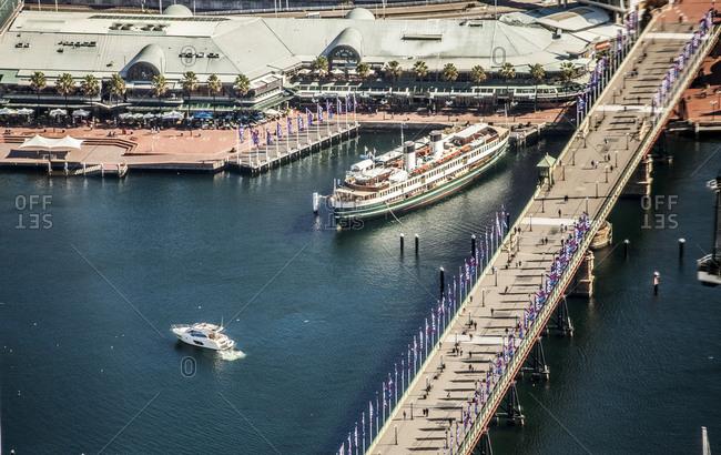 Sydney, Australia - May 13, 2015: Pyrmont Bridge and Darling Harbour