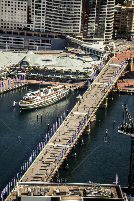 Sydney, Australia - May 13, 2015: Darling Harbour and Pyrmont Bridge